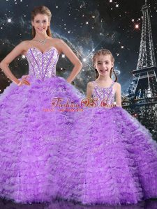 Graceful Sleeveless Floor Length Beading and Ruffles Lace Up Ball Gown Prom Dress with Lavender