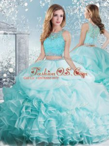 Flare Organza Scoop Sleeveless Clasp Handle Beading and Ruffles and Pick Ups 15 Quinceanera Dress in Aqua Blue