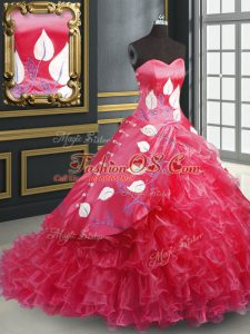 Coral Red Sleeveless Brush Train Embroidery and Ruffled Layers Quinceanera Gown