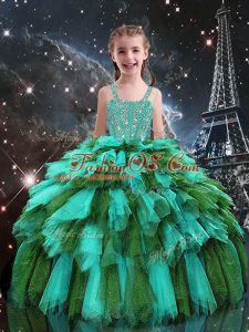 Straps Sleeveless Lace Up Kids Pageant Dress Turquoise Tulle