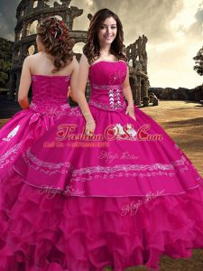 Shining Hot Pink Strapless Neckline Embroidery and Ruffled Layers Quince Ball Gowns Sleeveless Zipper