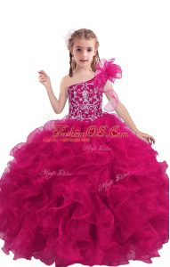 New Arrival Organza One Shoulder Sleeveless Lace Up Beading and Ruffles Kids Formal Wear in Fuchsia