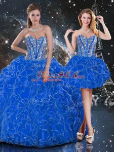 Luxurious Blue Ball Gowns Beading and Ruffles Quinceanera Dresses Lace Up Organza Sleeveless Floor Length