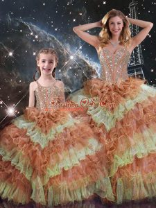 Floor Length Multi-color Quinceanera Gowns Organza Sleeveless Beading and Ruffled Layers and Sequins