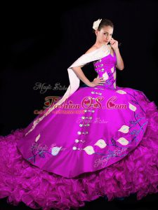 Fuchsia Taffeta Lace Up V-neck Sleeveless Sweet 16 Dresses Brush Train Embroidery and Ruffles