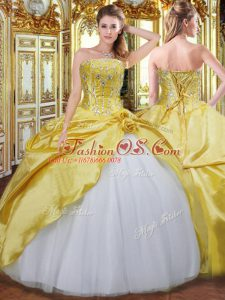 Floor Length Gold Sweet 16 Dress Strapless Sleeveless Lace Up
