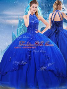 Inexpensive Royal Blue Sleeveless Tulle Brush Train Lace Up Ball Gown Prom Dress for Military Ball and Sweet 16 and Quinceanera