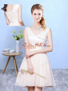 Sophisticated Champagne Lace Up V-neck Ruching Court Dresses for Sweet 16 Chiffon Sleeveless