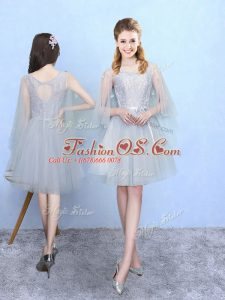 Square Half Sleeves Tulle Wedding Guest Dresses Lace Lace Up