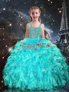 Flare Aqua Blue Ball Gowns Organza Straps Sleeveless Beading and Ruffles Floor Length Lace Up Child Pageant Dress