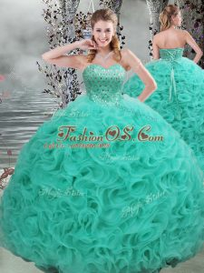 Fashionable Lace Up Ball Gown Prom Dress Turquoise for Military Ball and Sweet 16 and Quinceanera with Beading Brush Train