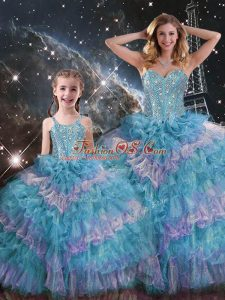 Multi-color Sleeveless Beading and Ruffled Layers Floor Length Sweet 16 Dress