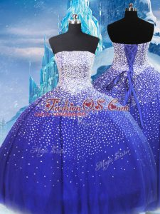 Strapless Sleeveless Lace Up Quinceanera Dress Blue Tulle