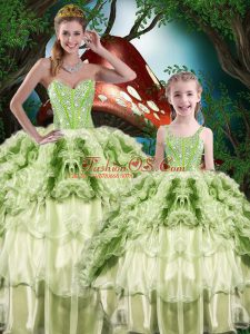 Popular Ball Gowns 15 Quinceanera Dress Yellow Green Sweetheart Organza Sleeveless Floor Length Lace Up