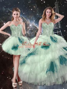 Multi-color Lace Up Sweetheart Beading and Ruffled Layers and Sequins Quinceanera Dresses Tulle Sleeveless
