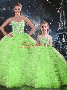 Unique Sleeveless Beading and Ruffles Floor Length Sweet 16 Dress