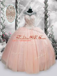 Fashion Floor Length Ball Gowns Sleeveless Pink Quinceanera Gowns Lace Up