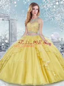 Floor Length Clasp Handle Quinceanera Dress Gold for Military Ball and Sweet 16 and Quinceanera with Beading and Lace