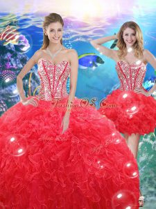 Top Selling Coral Red Quince Ball Gowns Military Ball and Sweet 16 and Quinceanera with Beading and Ruffles Sweetheart Sleeveless Lace Up