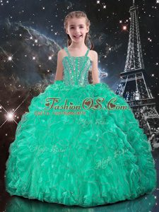 Excellent Beading and Ruffles Kids Formal Wear Turquoise Lace Up Sleeveless Floor Length