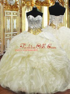 Fine Organza Sweetheart Sleeveless Lace Up Beading and Ruffles Quinceanera Gowns in Light Yellow