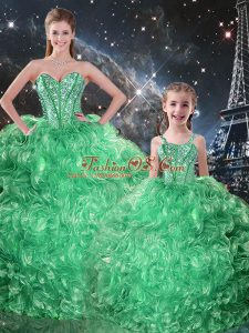 Hot Sale Organza Sweetheart Sleeveless Lace Up Beading and Ruffles Quince Ball Gowns in Green