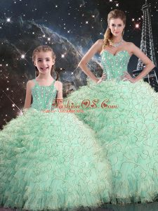 Inexpensive Sleeveless Floor Length Beading and Ruffles Lace Up Ball Gown Prom Dress with Apple Green