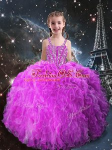 Sleeveless Floor Length Beading and Ruffles Lace Up Little Girl Pageant Gowns with Fuchsia