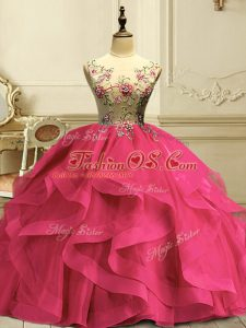 Flirting Sleeveless Floor Length Appliques and Ruffles Lace Up Sweet 16 Dresses with Hot Pink