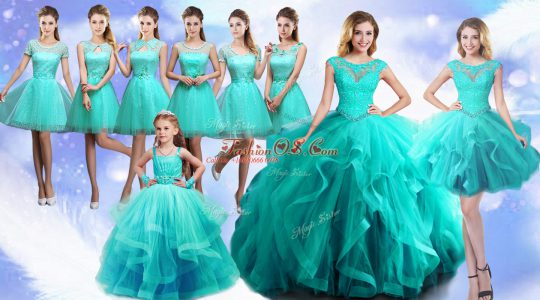 Exceptional Floor Length Turquoise Sweet 16 Dress Scoop Sleeveless Lace Up