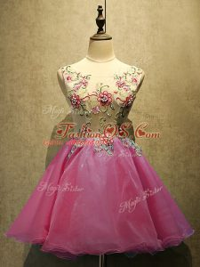 Mini Length Hot Pink Dress for Prom Organza Sleeveless Embroidery