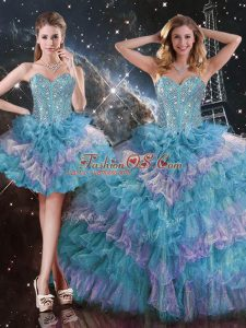 Multi-color Sleeveless Floor Length Beading and Ruffled Layers Lace Up Sweet 16 Dresses