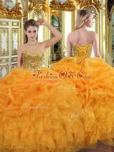 Custom Fit Orange Lace Up Quinceanera Dress Beading and Ruffles Sleeveless Floor Length