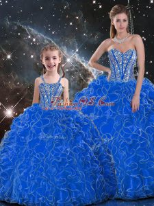 Simple Blue Organza Lace Up Sweetheart Sleeveless Floor Length Quinceanera Dresses Beading and Ruffles