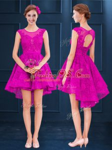 Fuchsia A-line Lace and Belt Bridesmaids Dress Lace Up Satin and Tulle Sleeveless High Low