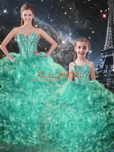Spectacular Turquoise Organza Lace Up Sweetheart Sleeveless Floor Length Quince Ball Gowns Beading and Ruffles