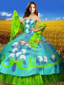 Multi-color Taffeta Lace Up Quinceanera Gowns Sleeveless Floor Length Embroidery