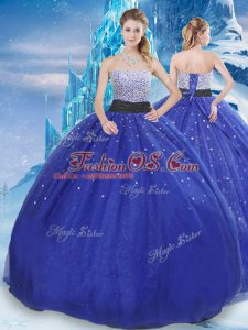 Pretty Strapless Sleeveless Quinceanera Dresses Floor Length Beading and Sequins Royal Blue Tulle