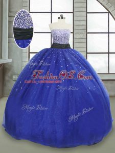 Romantic Sleeveless Tulle Floor Length Lace Up 15th Birthday Dress in Royal Blue with Beading and Sequins