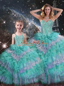Beautiful Ball Gowns Vestidos de Quinceanera Multi-color Sweetheart Organza Sleeveless Floor Length Lace Up