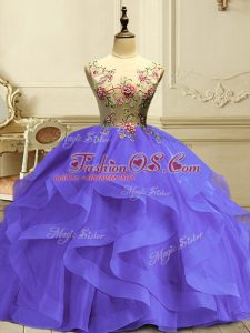 Simple Lavender Organza Lace Up Sweet 16 Quinceanera Dress Sleeveless Floor Length Appliques and Ruffles