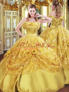 Strapless Sleeveless Sweet 16 Dresses Floor Length Beading and Appliques and Hand Made Flower Gold Tulle