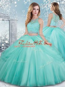 Edgy Scoop Sleeveless Tulle Sweet 16 Quinceanera Dress Beading and Lace Clasp Handle