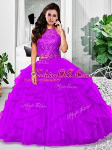 Wonderful Eggplant Purple Zipper Halter Top Lace and Ruffles Sweet 16 Dresses Tulle Sleeveless
