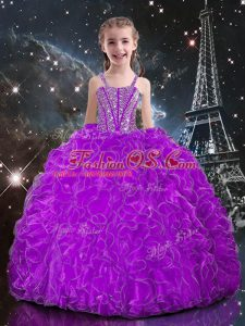 Sleeveless Organza Floor Length Lace Up Pageant Gowns For Girls in Eggplant Purple with Beading and Ruffles