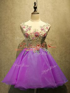 Flirting Purple Sleeveless Embroidery Mini Length Homecoming Dress