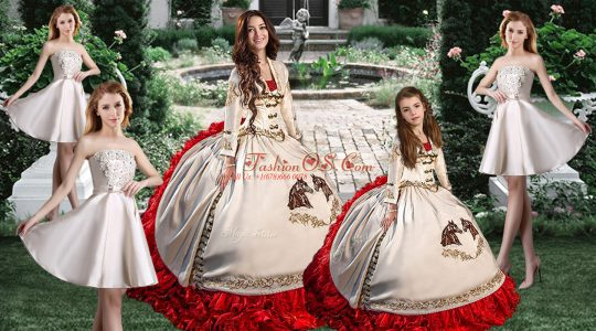 White Ball Gowns Embroidery Ball Gown Prom Dress Lace Up Taffeta Long Sleeves