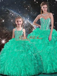 Turquoise Organza Lace Up Sweetheart Sleeveless Floor Length Quinceanera Dresses Beading and Ruffles