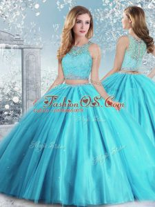Aqua Blue Ball Gowns Scoop Sleeveless Tulle Floor Length Clasp Handle Beading and Sequins Quinceanera Gowns