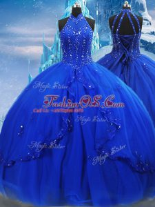 Royal Blue Sleeveless Beading and Ruffles Lace Up Quinceanera Dress